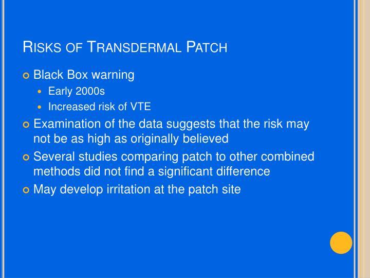 Risks of Transdermal Patch