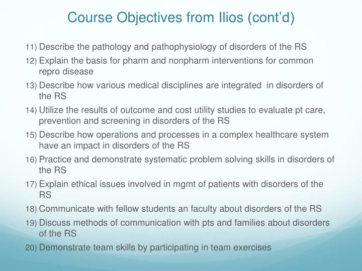 Course Objectives from