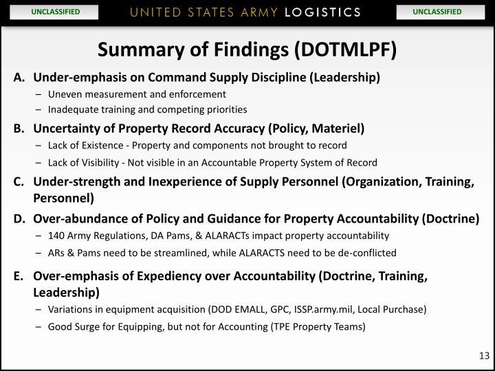 Summary of Findings (DOTMLPF)