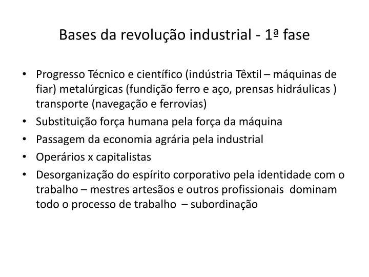 Bases da revolução industrial - 1ª fase