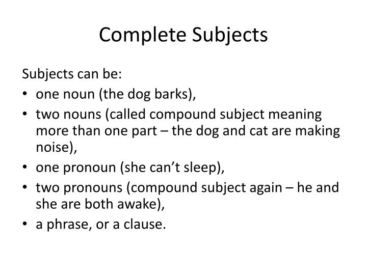Complete subjects