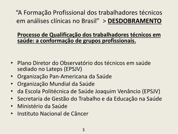 """""""A Formação Profissional dos trabalhadores técnicos em análises clínicas no Brasil""""  >"""