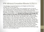 ifw advisory committee minutes 9 28 11