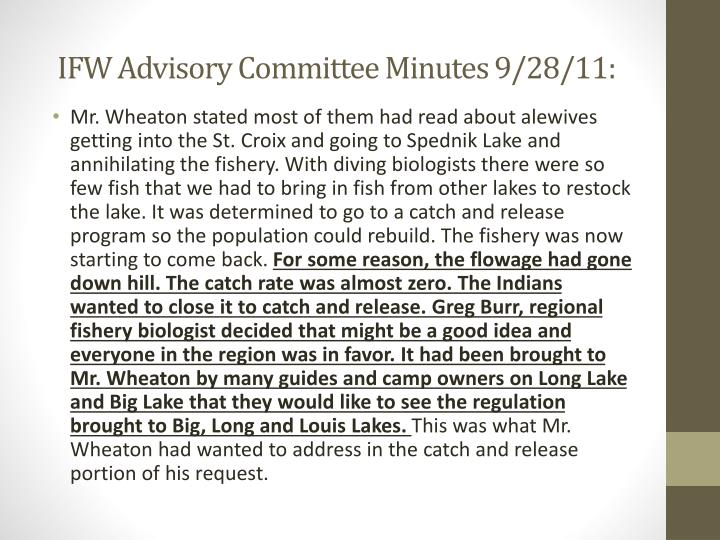 IFW Advisory Committee Minutes 9/28/11: