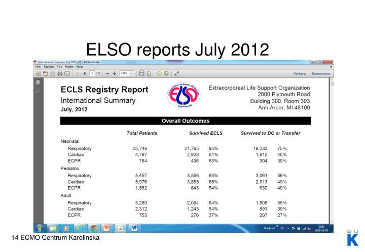 ELSO reports July 2012