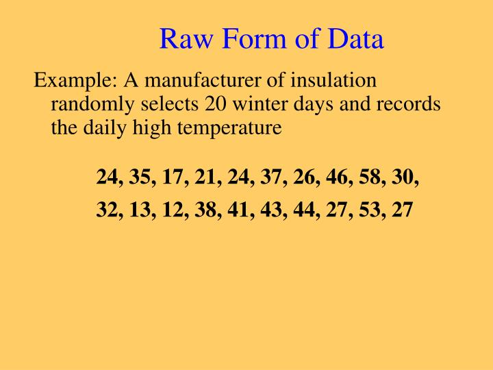 Raw Form of Data