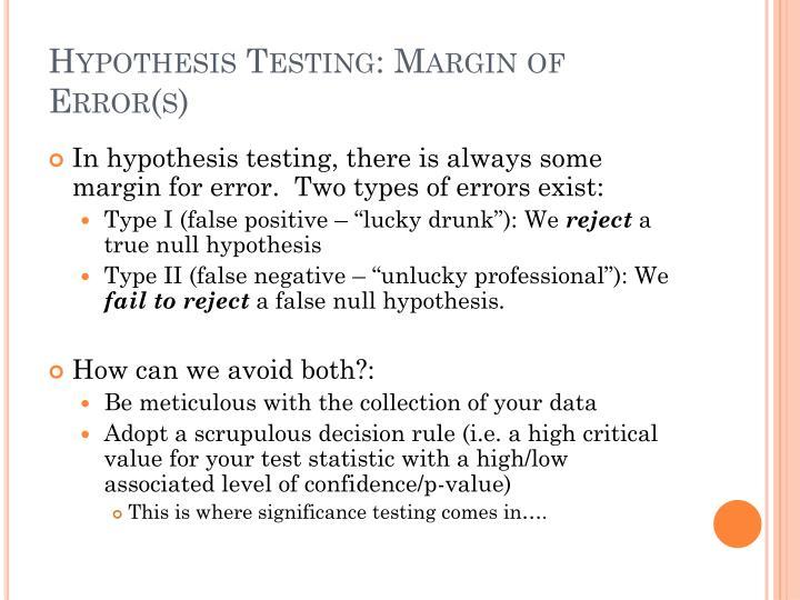 Hypothesis Testing: Margin of Error(s)