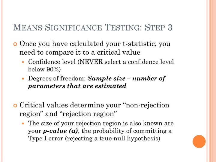 Means Significance Testing: Step 3