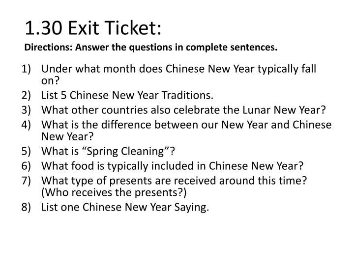 1.30 Exit Ticket: