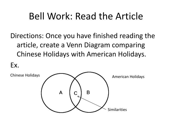 Bell work read the article