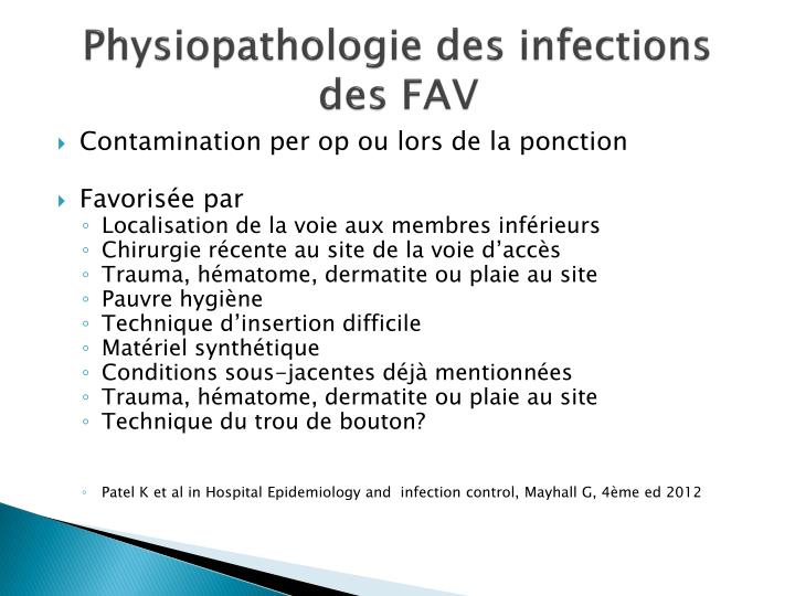 Physiopathologie des infections des FAV
