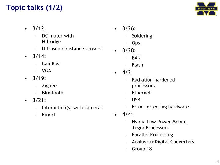Topic talks (1/2)