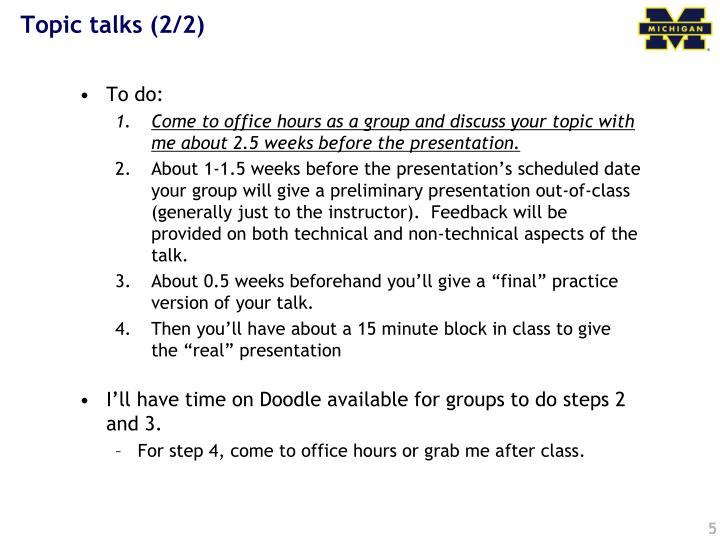 Topic talks (2/2)