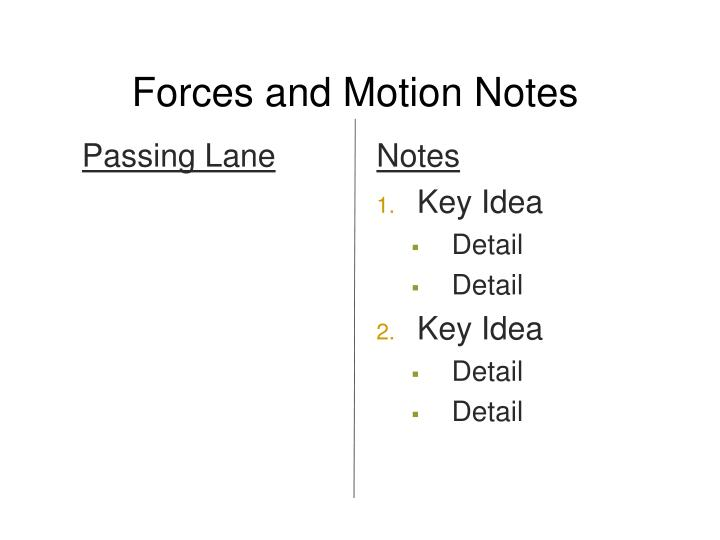 Forces and motion notes