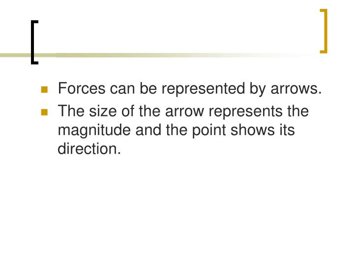 Forces can be represented by arrows.