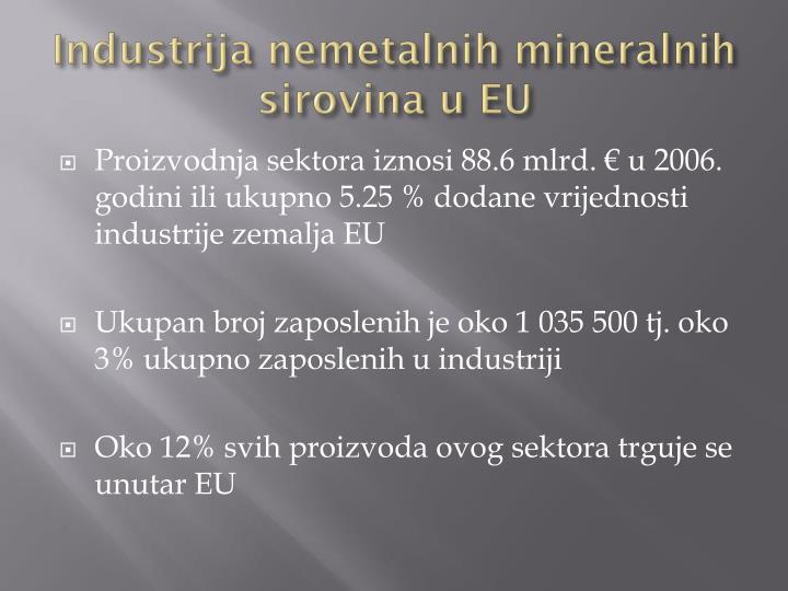 Industrija nemetalnih mineralnih sirovina u EU