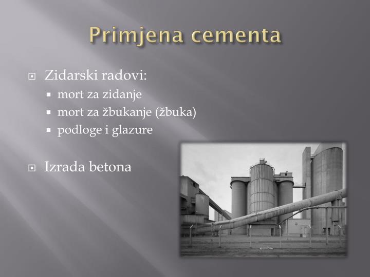 Primjena cementa