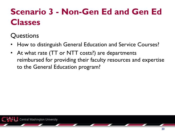 Scenario 3 - Non-Gen Ed and Gen Ed Classes