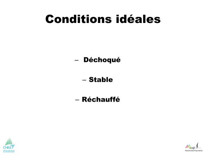 Conditions idéales