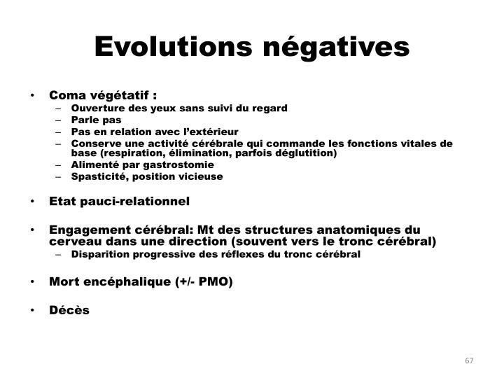 Evolutions négatives