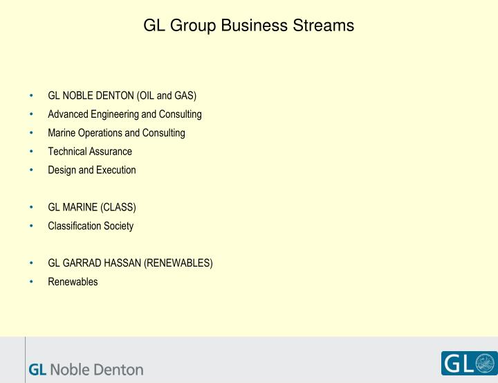 Gl group business streams