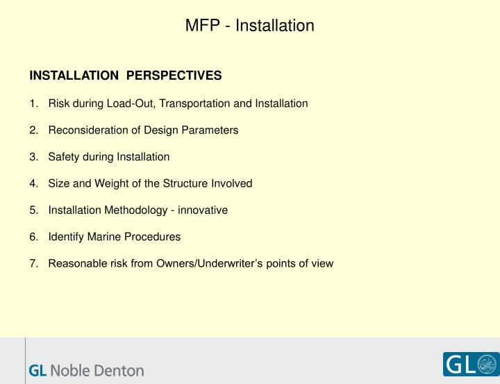 MFP - Installation