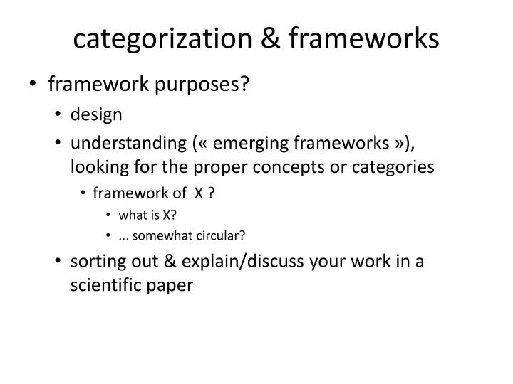 categorization & frameworks