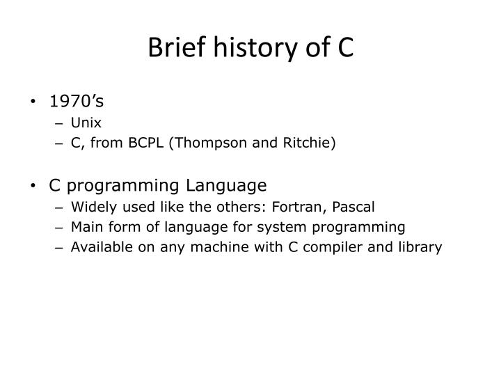 Brief history of c
