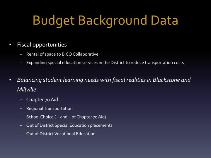 Budget Background Data