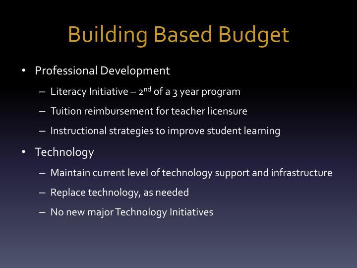 Building Based Budget