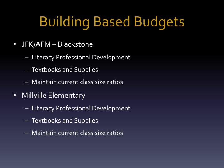 Building Based Budgets