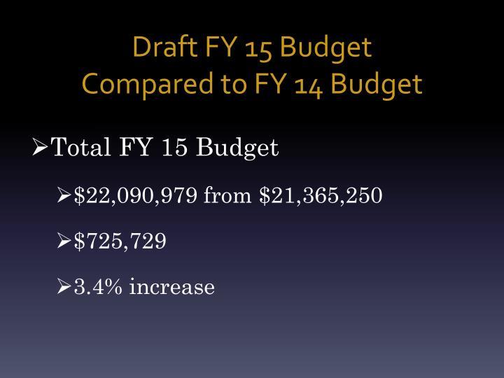 Draft FY 15 Budget