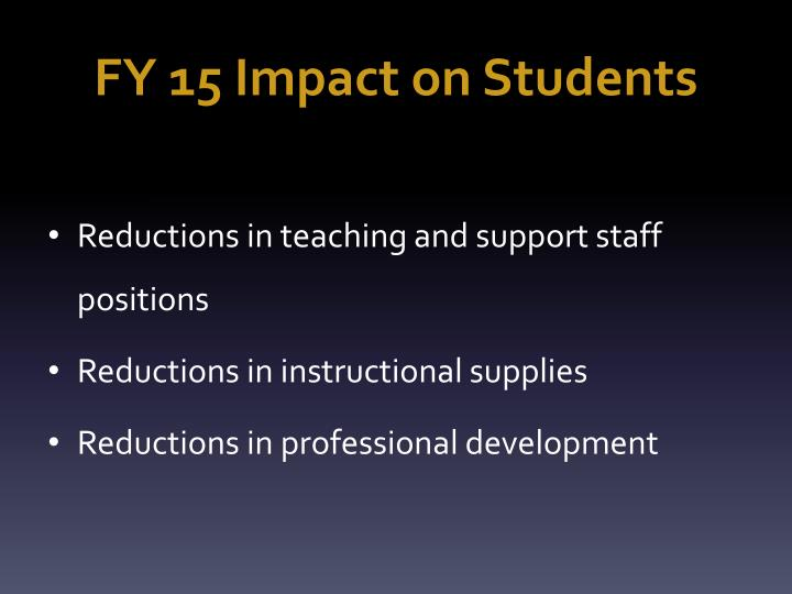 FY 15 Impact on Students
