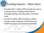funding impacts other items