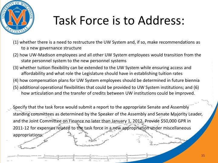 Task Force is to Address: