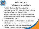 wiscnet and telecommunications