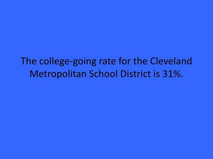 The college-going rate for the Cleveland Metropolitan School District is 31%.