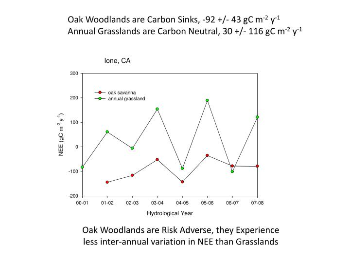 Oak Woodlands are Carbon Sinks, -92 +/- 43