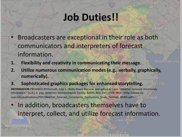 Job Duties!!