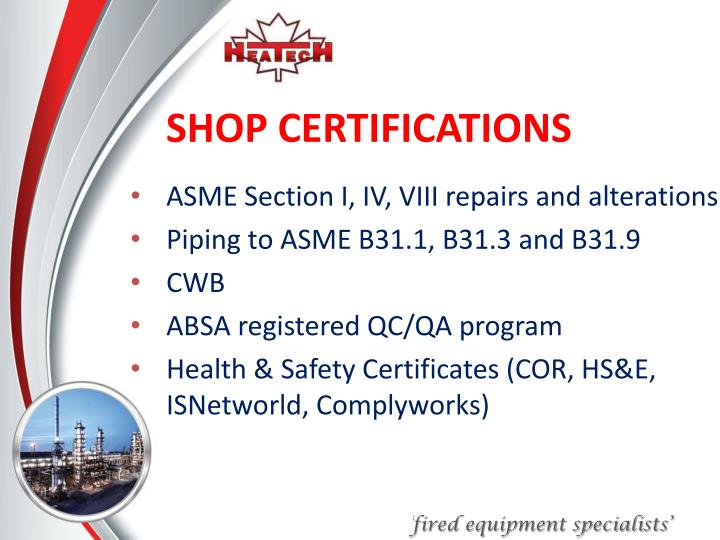 SHOP CERTIFICATIONS