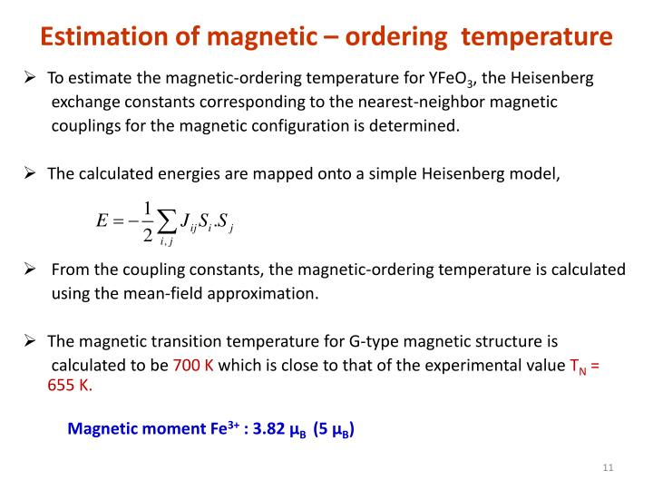 Estimation of magnetic – ordering  temperature
