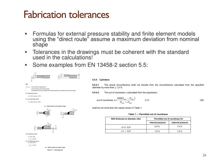 Fabrication tolerances