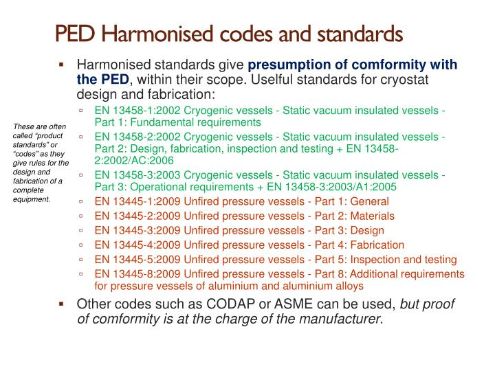 PED Harmonised codes and standards