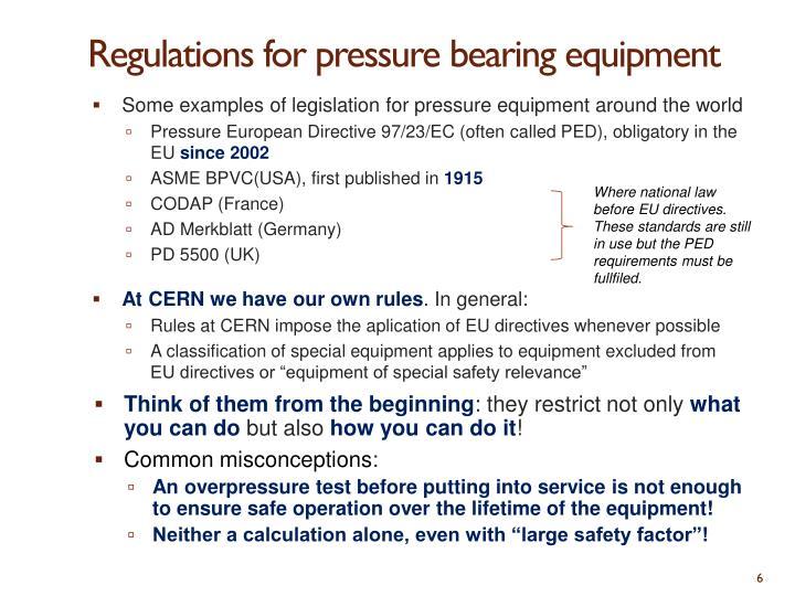 Regulations for pressure bearing equipment