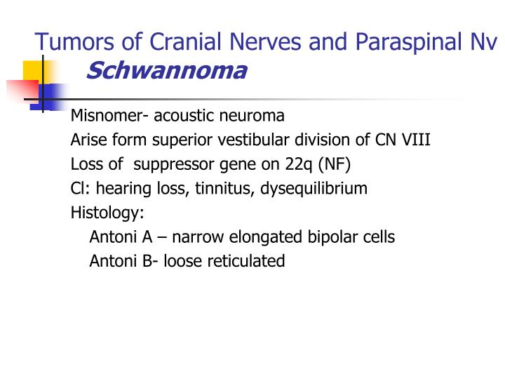 Tumors of Cranial Nerves and Paraspinal Nv