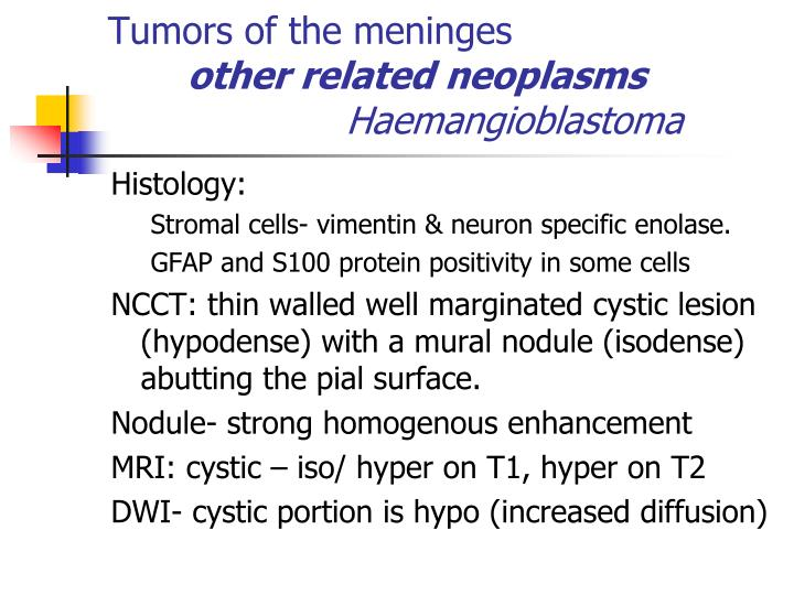 Tumors of the meninges