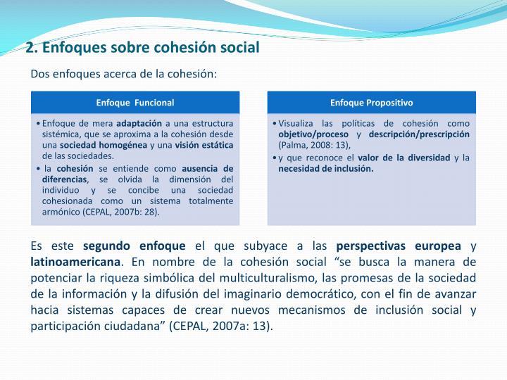2. Enfoques sobre cohesión social