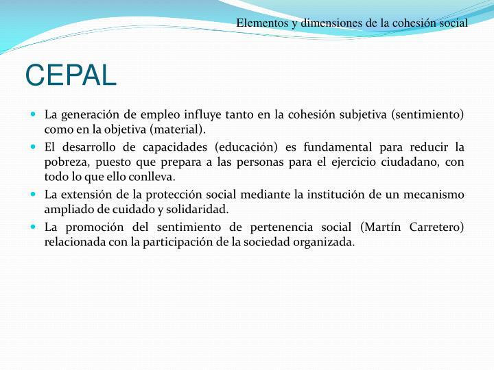 Elementos y dimensiones de la cohesión social