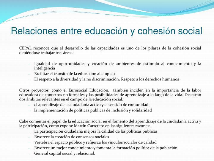 Relaciones entre educaci