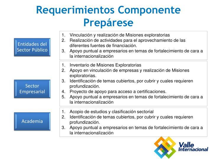 Requerimientos Componente